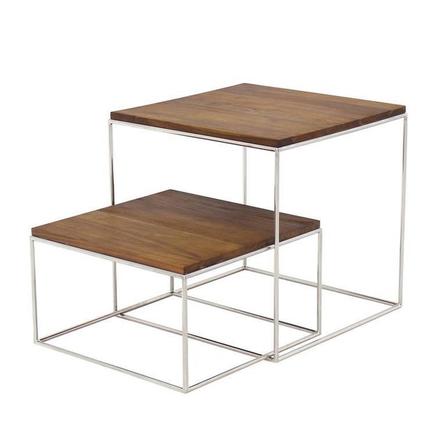 Mid-Century Modern Chrome Cube Nesting End Side Table For Sale - Image 3 of 9