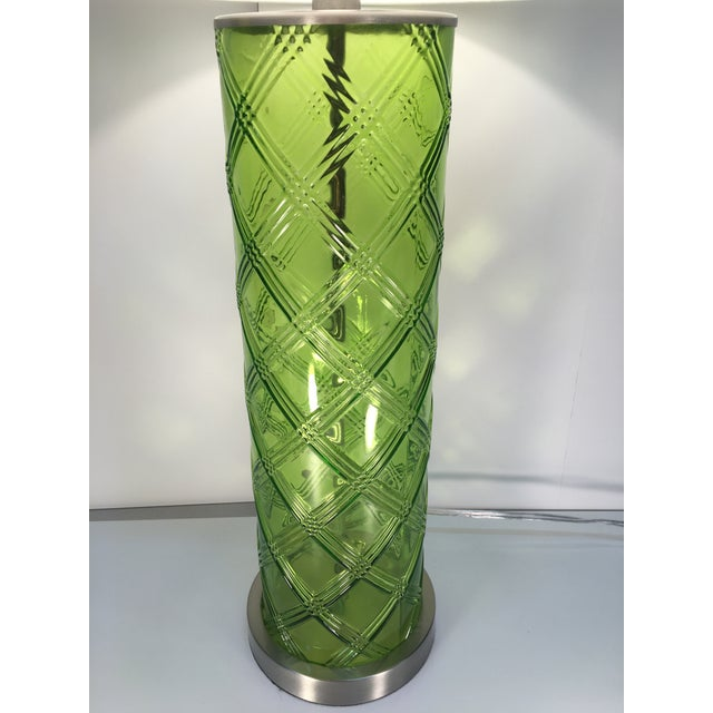 Green Glass Lamp With Bamboo Pattern - Image 3 of 6