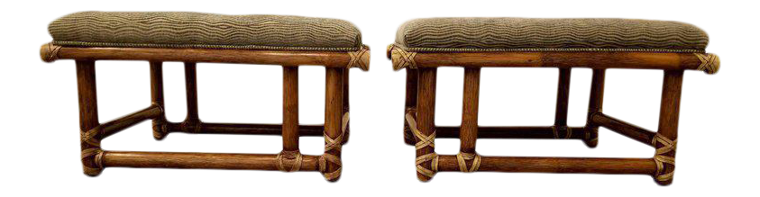 mcguire furniture company laced. McGuire Furniture Bamboo Ottomans Or Stools Mcguire Company Laced E