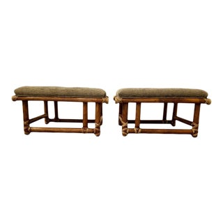 McGuire Furniture Bamboo Ottomans or Stools