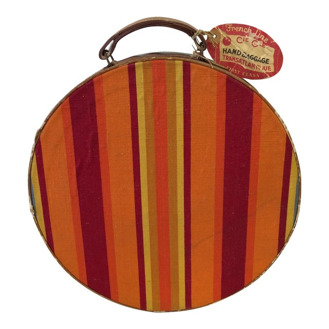 Vintage Round Carry on Suitcase With Stripes and French Train Label For Sale