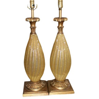 Vintage Barovier Style Gold Murano Glass Lamps -A Pair For Sale