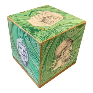 1980s Grand Tour Style Hand Made Faux Marble Cube With Italian Portrait Engravings Signed For Sale