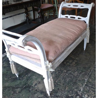 French 19th Century Painted Wood Chaise or Sofa With One Long Upholstered Cushion. Preview