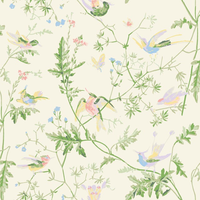 2020s Cream Background Silk Fabric- Sample For Sale - Image 5 of 5