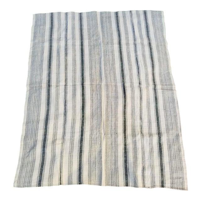 Hand Spun Black Stripe Linen Throw - Image 1 of 7