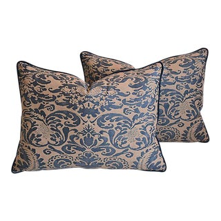 "Italian Mariano Fortuny Corone Feather/Down Pillows 24"" x 18"" - Pair"