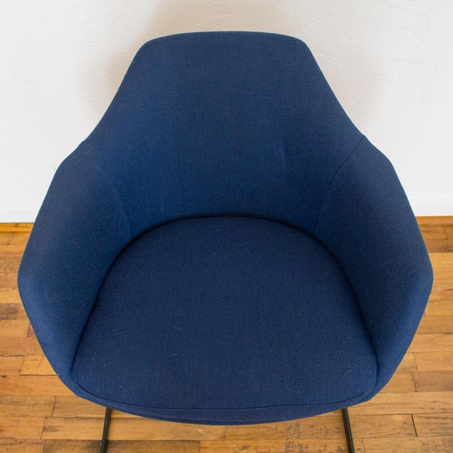 Metal Vecta Chair in Blue Tweed Upholstery, Maurice Burke Fiberglass Shell For Sale - Image 7 of 9