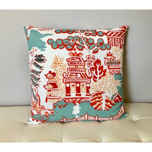Pillow cover is made with Thibaut Luzon fabric (pattern F936107) a linen/cotton blend in Aqua, Coral and White. Pillow...