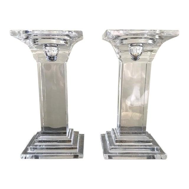 Art Deco Crystal Decor Pillar Candle Holders - A Pair For Sale