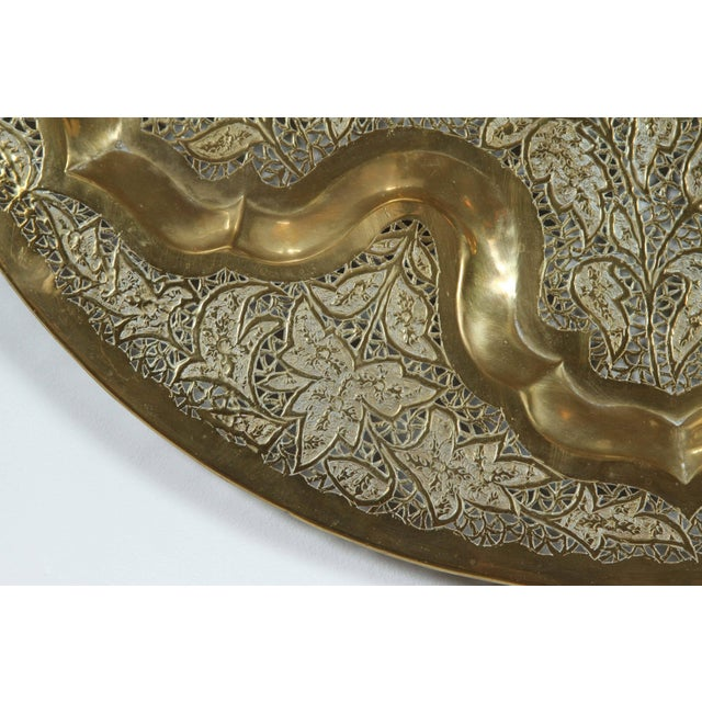 Metal Mid Century Anglo Raj Hanging Hammered Polished Brass Tray For Sale - Image 7 of 8