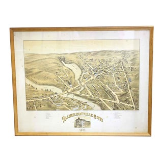 Antique Framed Map of Danielsonville Ct For Sale