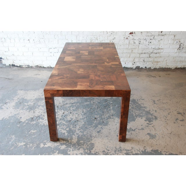 Paul Evans for Directional Patchwork Burl Wood Parsons Extension Dining Table For Sale In South Bend - Image 6 of 13
