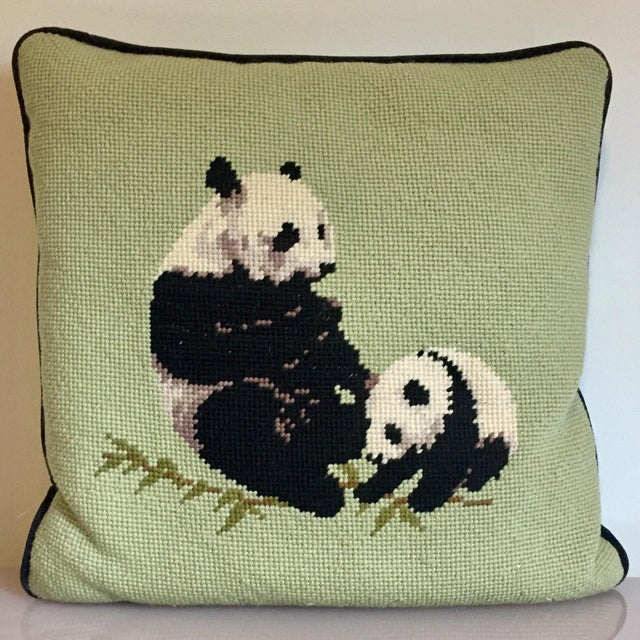 Needlepoint Panda Pillow For Sale - Image 10 of 10