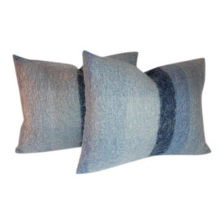 Vintage Mohair in Blues Pillows - a Pair For Sale