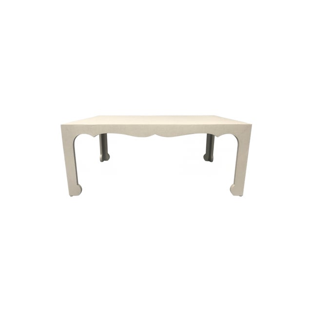 Birch Chinese Ming Style Taupe Raffia Wrapped Apron Shaped Coffee Table For Sale - Image 7 of 7