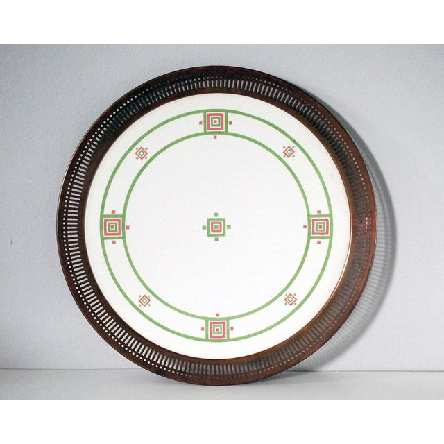 This striking antique Art Deco or Bauhaus ceramic and metal tray from the late 1800s is probably German or Austrian, with...