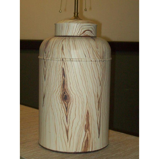 Contemporary Pair of Tole Faux-Painted Canister Lamps For Sale - Image 3 of 4