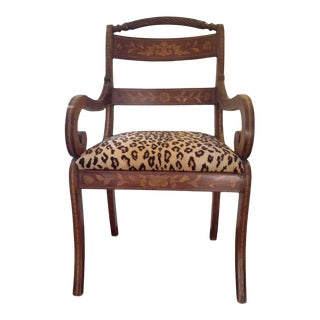 Antique Inlaid Mahogany Leopard Upholstered Arm Chair For Sale