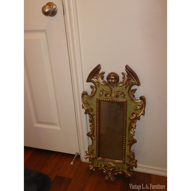 Italian Vintage Rococo Green & Gold Gilt Carved Wood Mirror For Sale - Image 3 of 11