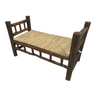 Log Twig Bench With Rush Seat
