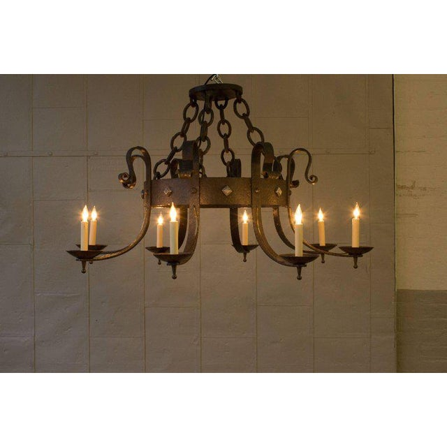 1940's Round Wrought Iron Chandelier with 8 Arms - Image 2 of 11