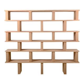 'Verticale' 6-Shelf Polished Oak Shelving Unit For Sale