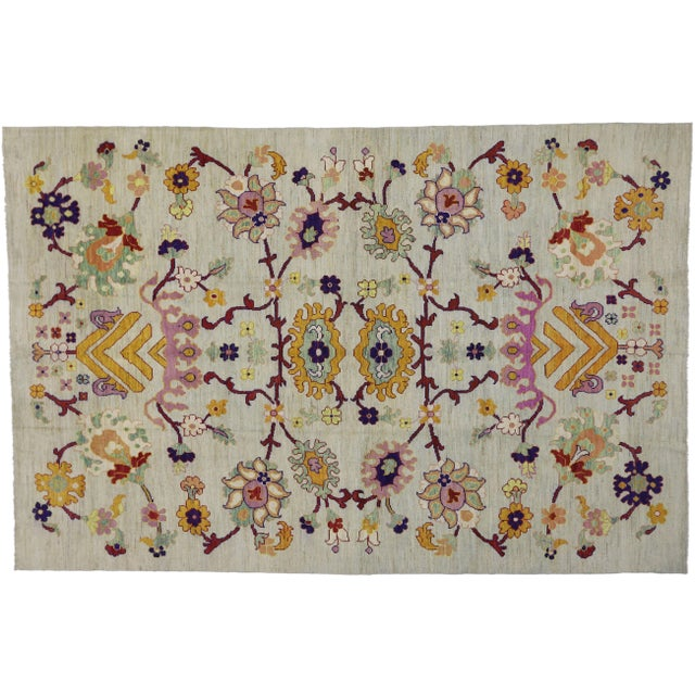 Colorful Turkish Oushak Rug With Contemporary Hollywood Glamour Style, 10'04 X 15'08 For Sale In Dallas - Image 6 of 6