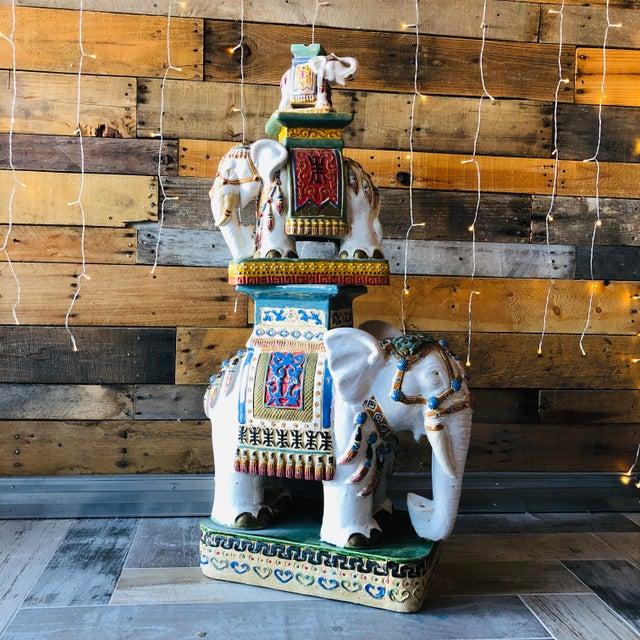 Ceramic Palm Beach Hollywood Regency Elephant - Set of 3 For Sale - Image 11 of 11