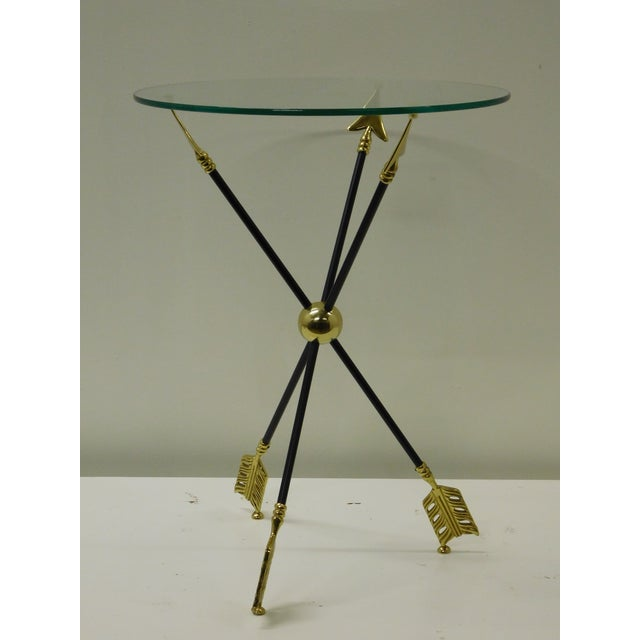 Metal Vintage Iron & Brass Arrow Bouillotte Drinks Lamp Table For Sale - Image 7 of 8