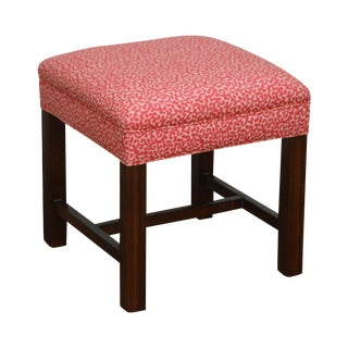 Chippendale Style Custom Mahogany Square Ottoman