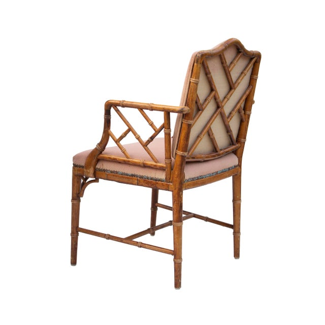 Asian Hollywood Regency Faux Bamboo Dining Chairs, S/4 For Sale - Image 3 of 8