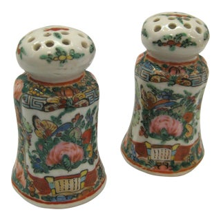 1930s Rose Canton China Porcelain Dragon Motif Salt & Pepper Shakers - a Pair For Sale