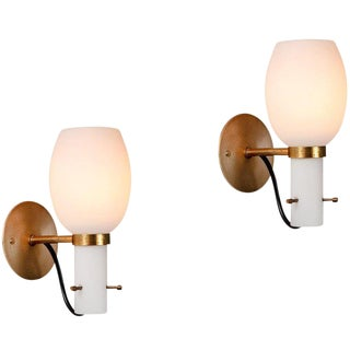 1950s Vintage Stilnovo Style Italian Brass & Glass Sconces- A Pair For Sale