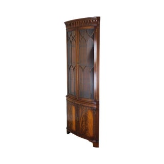 Bevan Funnell Regency Style Mahogany Bow Glass Corner Cabinet For Sale