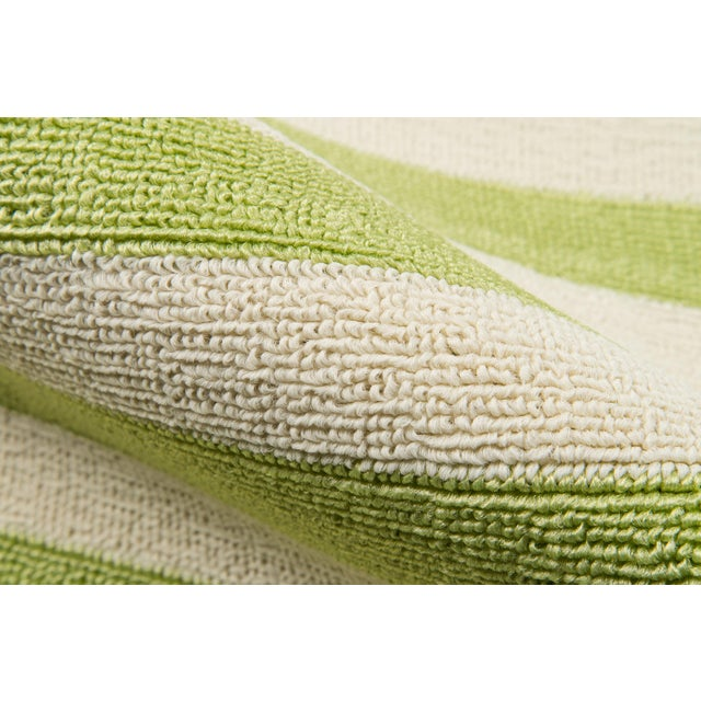 """Contemporary Momeni Baja Green Stripe Indoor/Outdoor Rug - 7'10"""" X 10'10"""" For Sale - Image 3 of 6"""