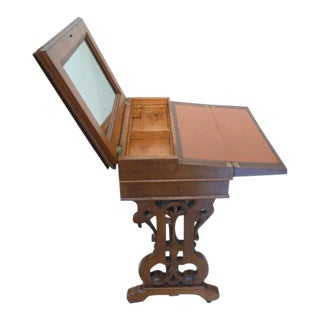 1860's Victorian Walnut Lift Top Writing Desk For Sale