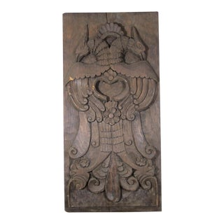 Carved Panel With Two Eagles For Sale