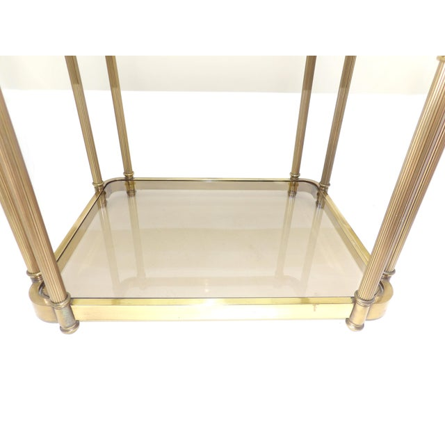1960's Hollywood Regency Brass 2 Tier Glass Side Table For Sale - Image 4 of 10