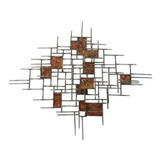 Mid-Century Modern Brutalist Style Metal Wall Art For Sale