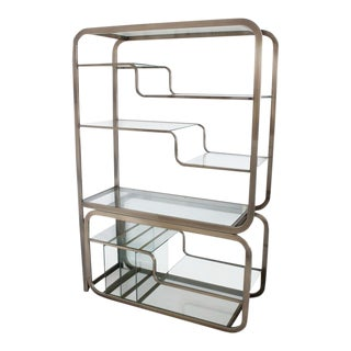 Milo Baughman Glass and Polished Bronze Slide Out Server Etagere For Sale