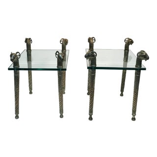 Late 20th Century Exceptional Ram's Head Side Accent Tables - a Pair For Sale