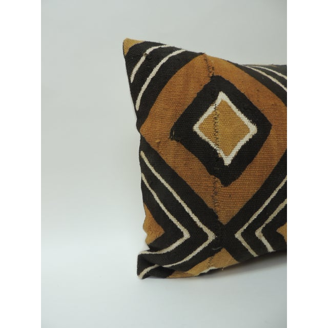 Vintage Graphic African Artisanal Textile Mud Cloth Decorative Bolster Pillow For Sale - Image 4 of 5