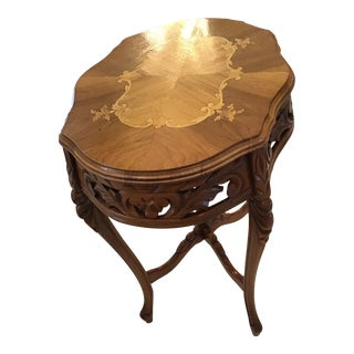 Vintage Inlaid Wood Carved Table For Sale