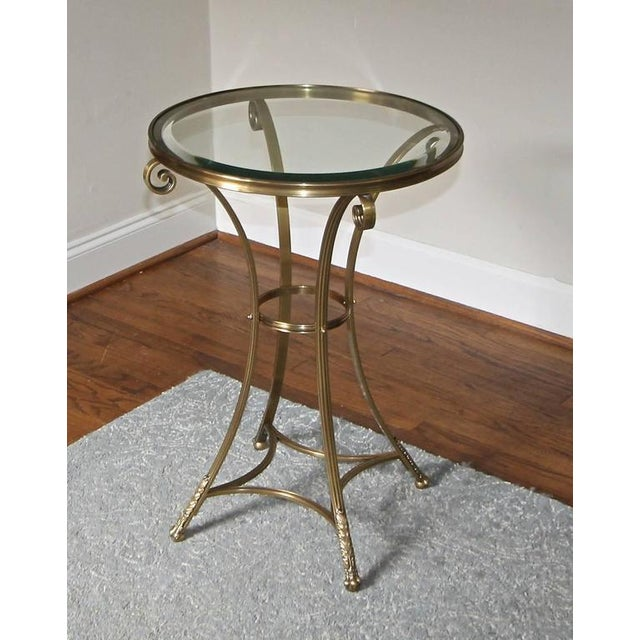 Gold 1980s Vintage Gueridon Brass Paw Footed Table For Sale - Image 8 of 11