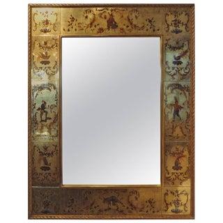 French Maison Jansen Style Eglomise Gilt Mirror Circa 1940 For Sale