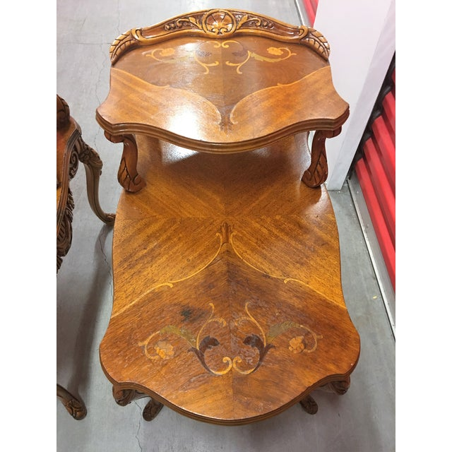 Double-Tier Carved Inlay End Tables - Pair - Image 5 of 11