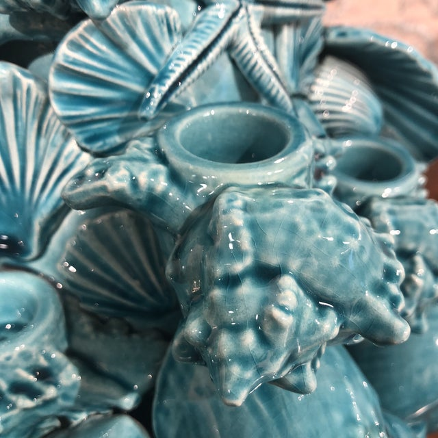 Italian Turquoise Ceramic Centerpiece For Sale - Image 4 of 12