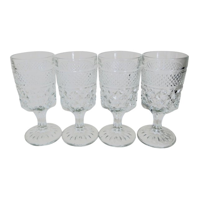 Vintage Anchor Hocking Wexford Clear Glass Crystal Wine Glasses Set of 4 For Sale
