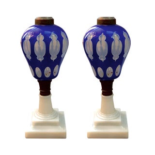 Mid 19th Century Antique American Boston & Sandwich Glass Overlay Oil Lamps - A Pair For Sale